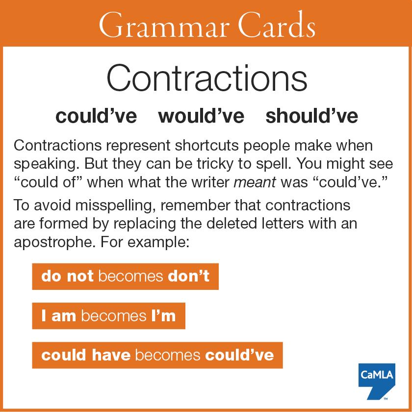 Contractions   Learn english English grammar English verbs