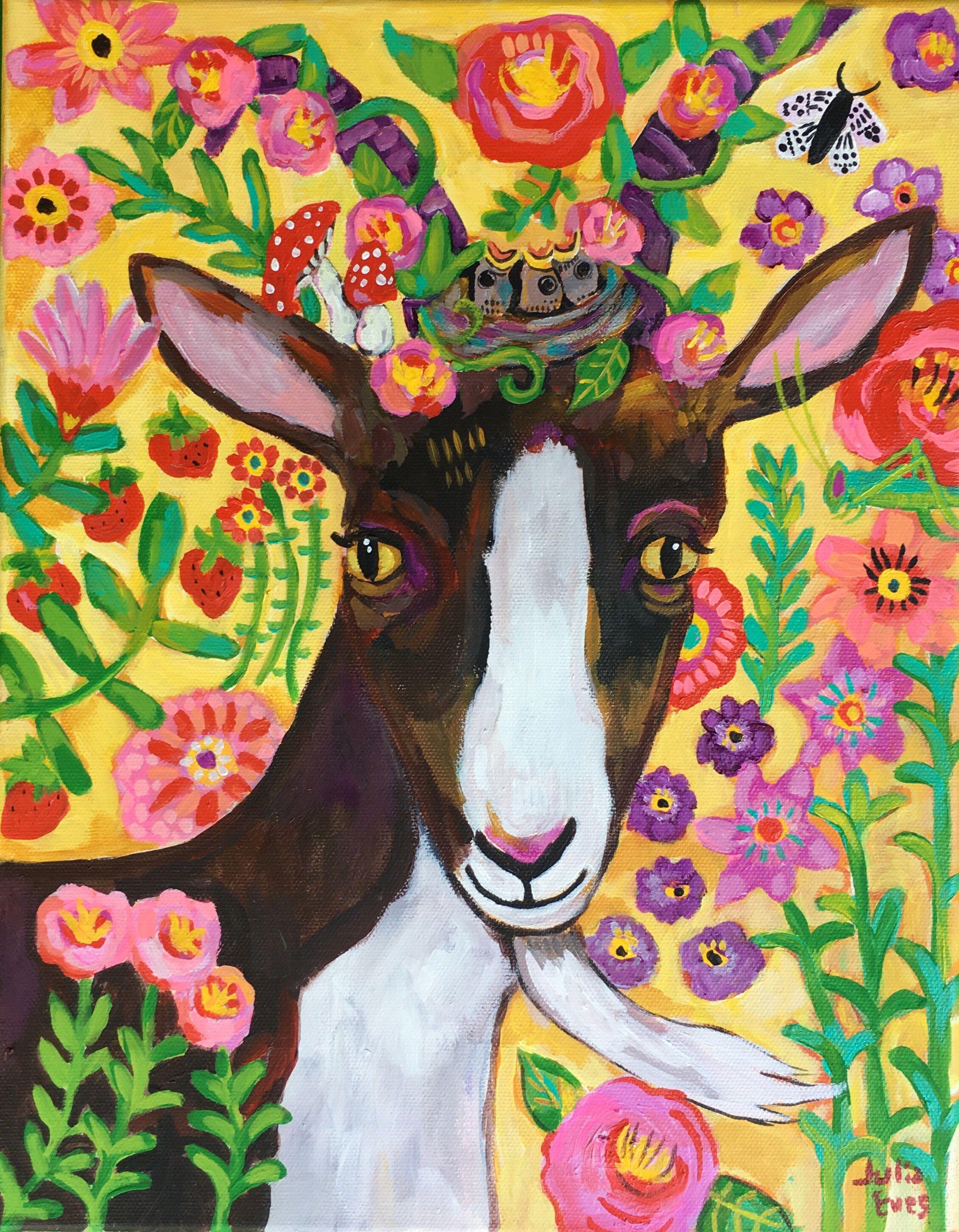 5D Diamond Painting Abstract Flower Goat Kit