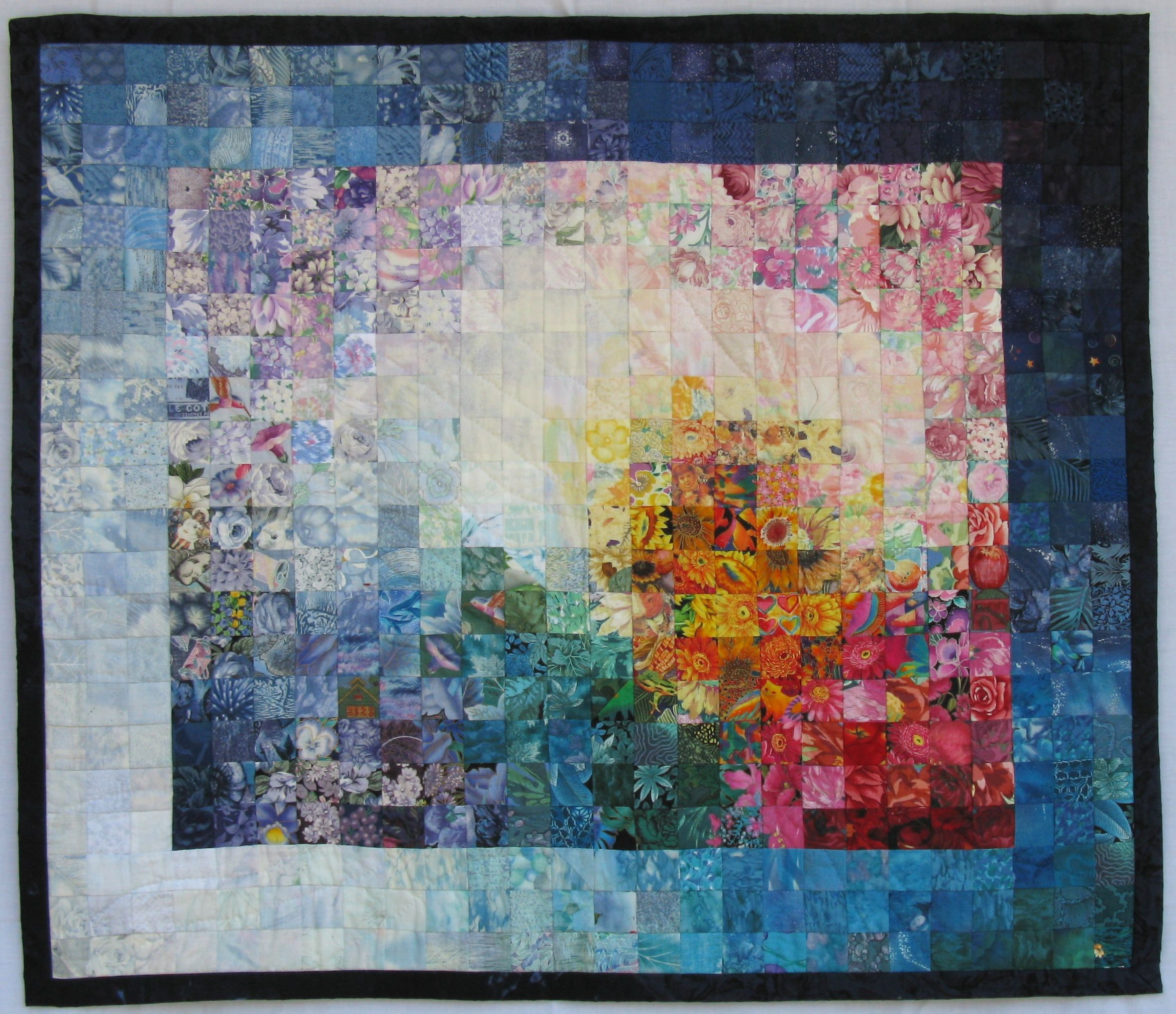 Using The Other Side Of Fabrics Watercolor Quilt Bargello