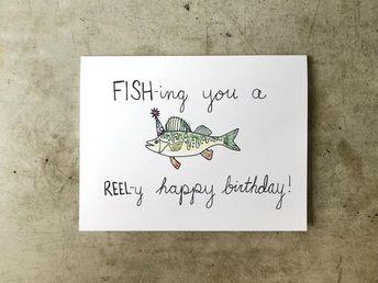 Fishing Birthday Card Fisherman Birthday Birthday For Him Etsy In 2021 Fishing Birthday Cards Birthday Card Puns Funny Birthday Cards