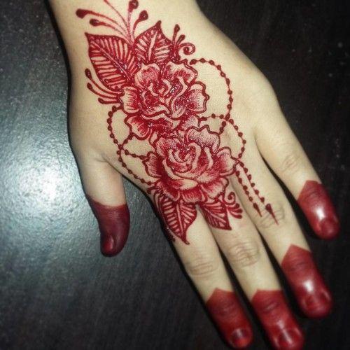 Twin roses design for back hand rose mehndi design for Rose henna tattoo