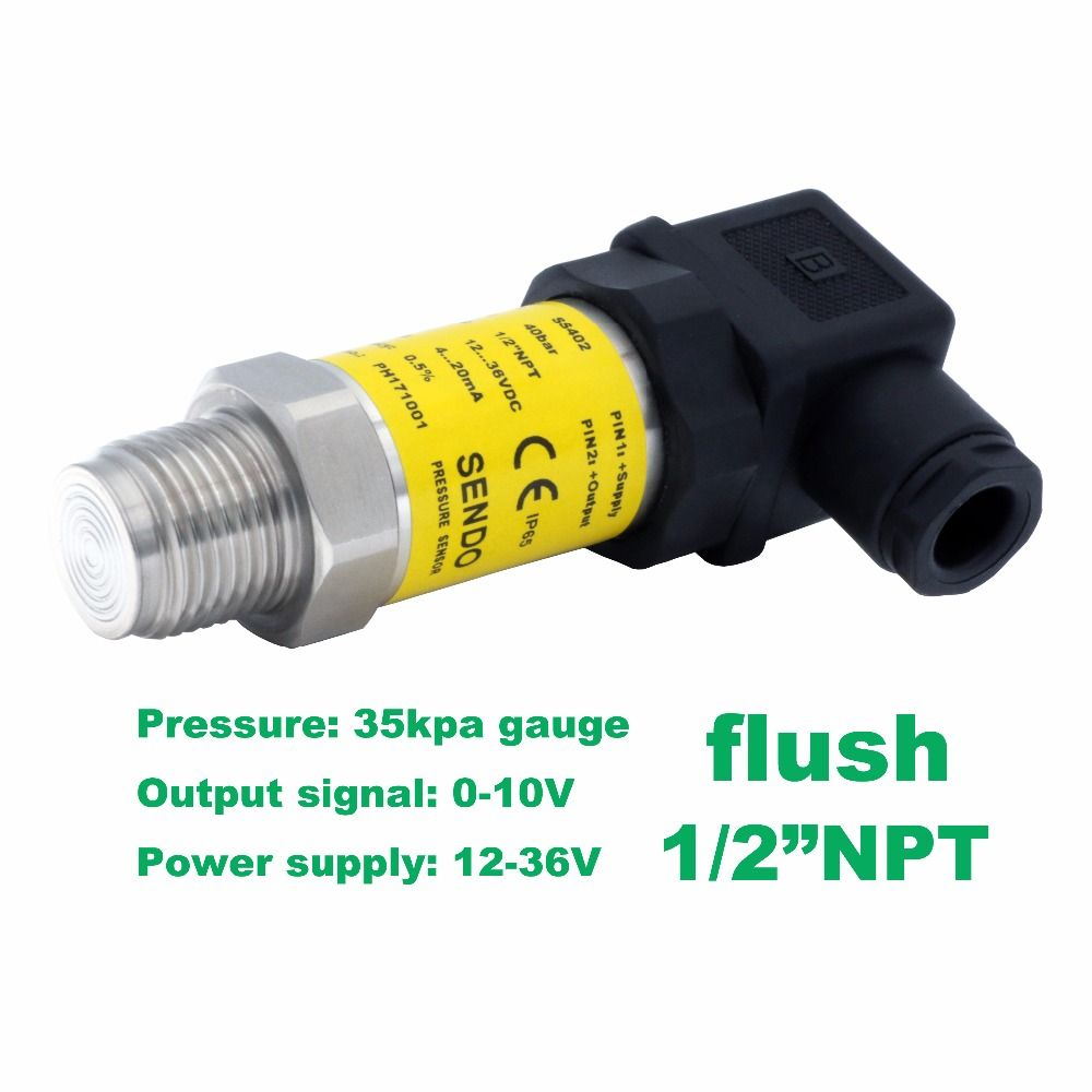 "flush pressure sensor 0-10V, 12-36V supply, 35kpa/0.35bar gauge, 1/2""NPT, 0.5% accuracy, stainless steel 316L wetted parts"