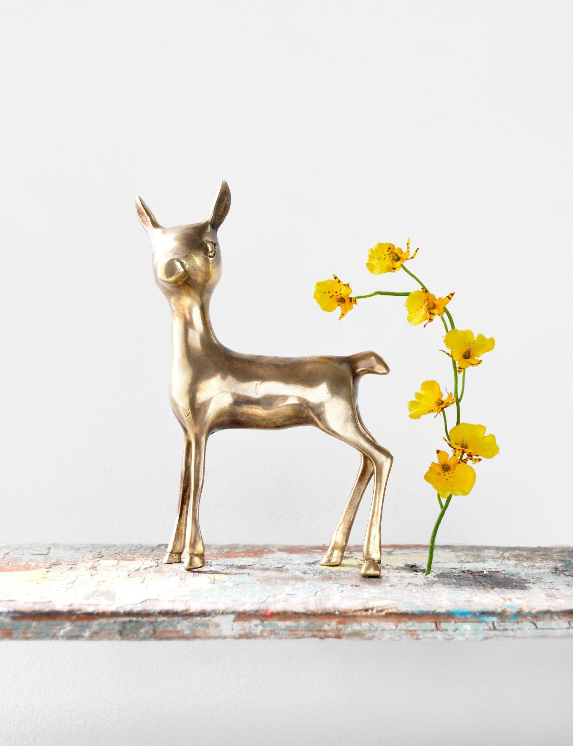woodland animal home decor vintage brass deer figurine 7 5  bambi fawn doe metal figure  vintage brass deer figurine 7 5