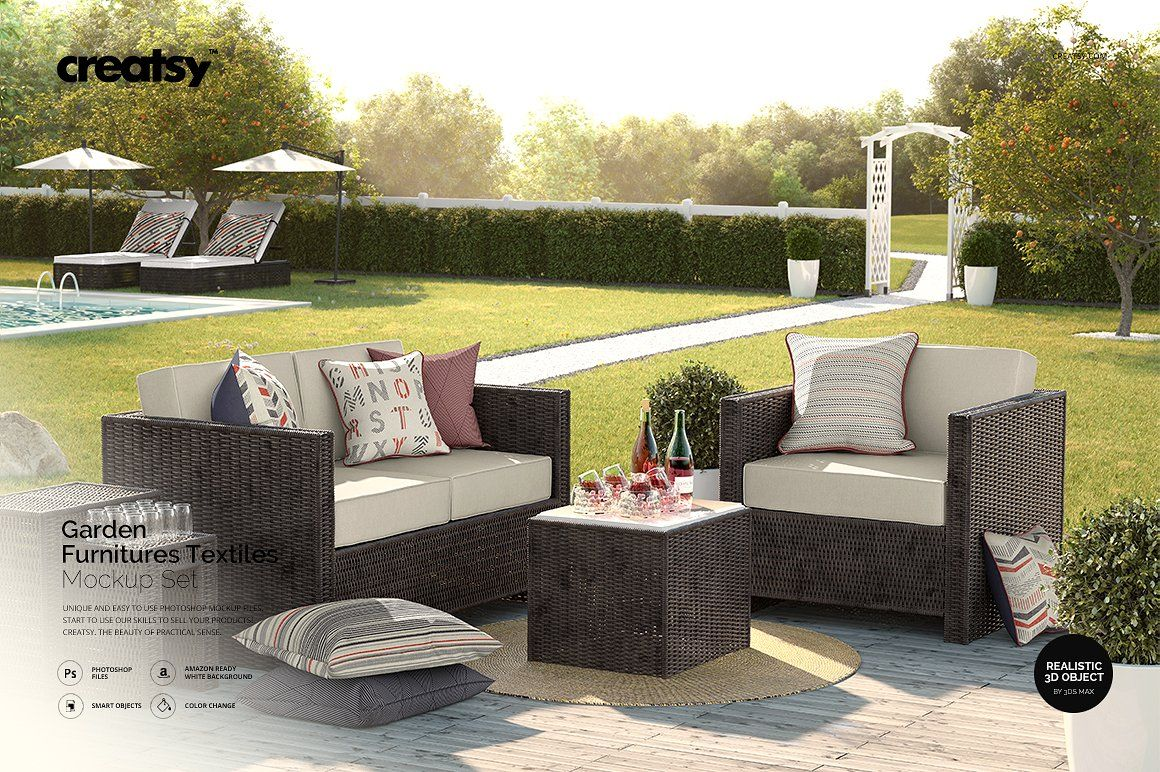 Garden Furnitures Textiles Mockup Garden Furniture Mockup Free Psd Mockup