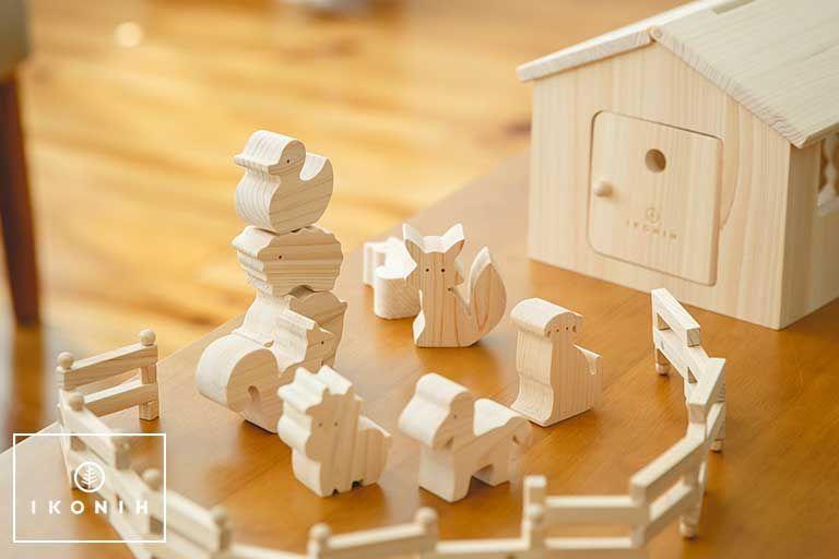 木のおもちゃ ひのきのおもちゃ 積み木 無塗装 Ikonih アイコニー 出産