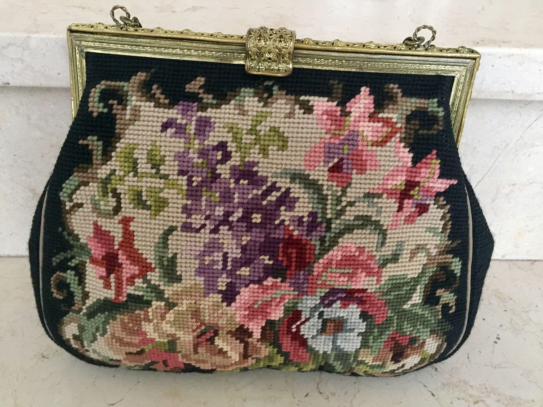 Vintage Handtasche aus handgesticktem Gobelin, bunte Blumen