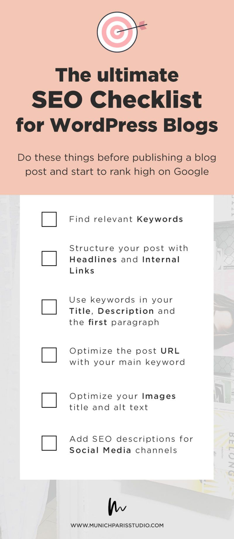 The Ultimate Checklist - 5 Things to do for SEO before publishing your blog post - Find out how you can rank higher in search engines and what you have to ...