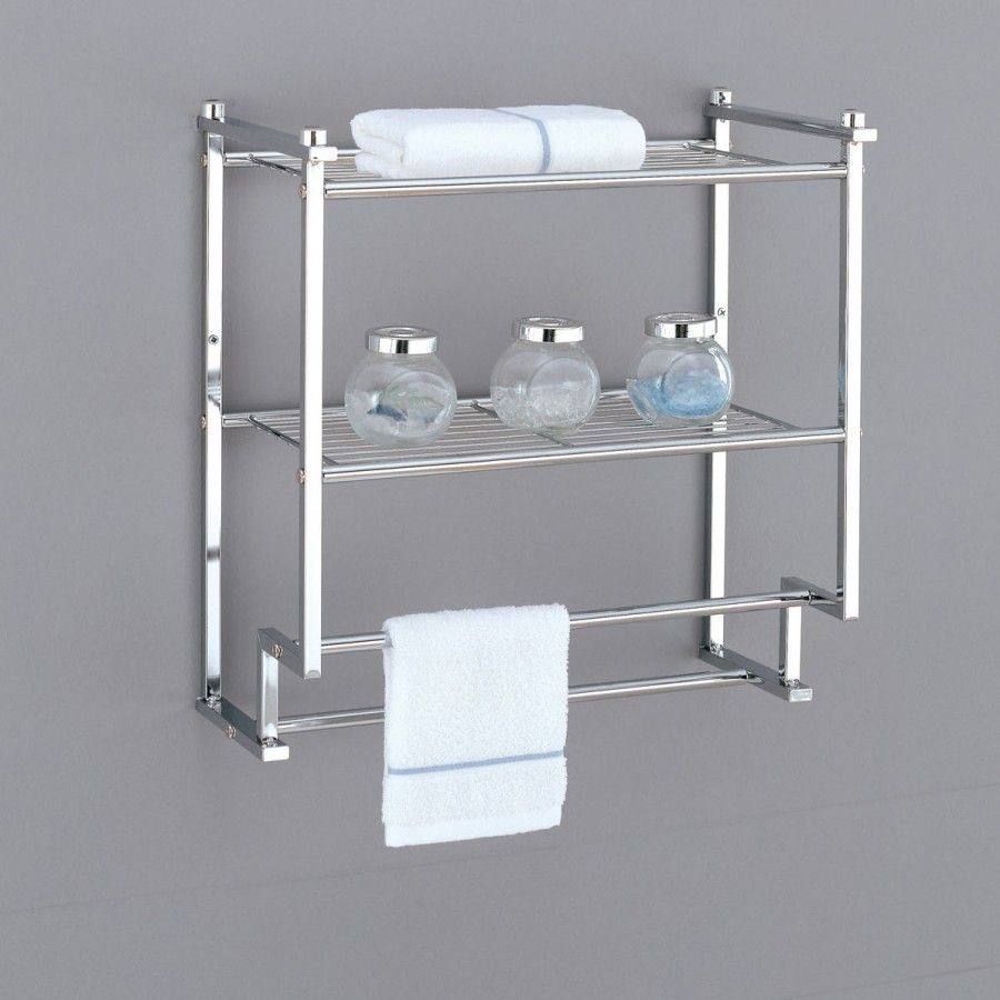 Oia Metro Two Tier Wall Mounting Rack With Towel Bars In Chrome 16988 Bathroom Wall Shelves Bathroom Storage Units Towel Rack