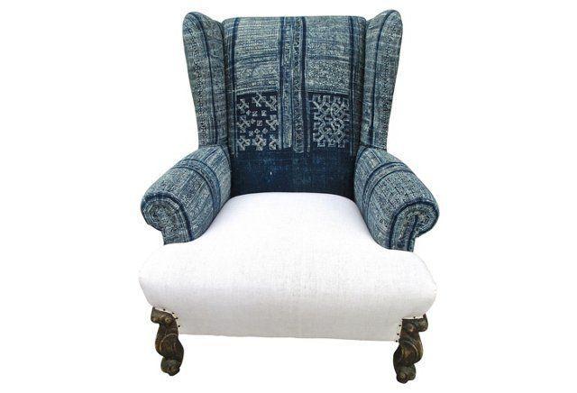 Indigo Batik & French Linen Wing Chair