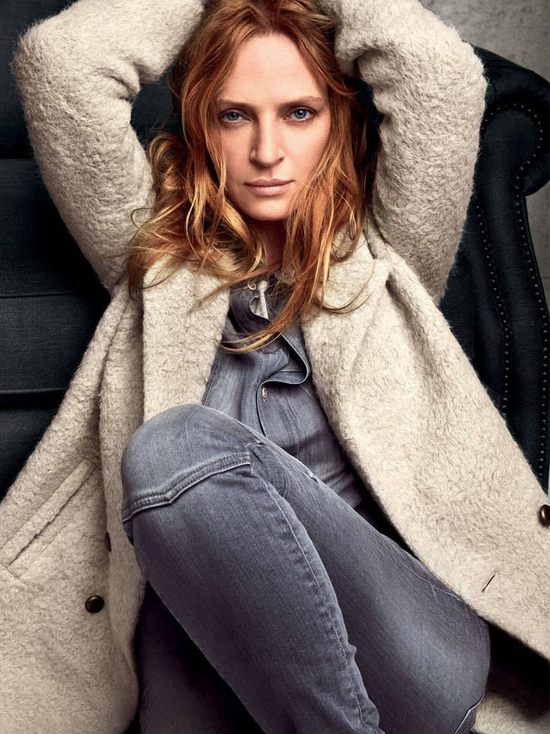 Love the rugged coat with grey denim all over. Uma Thurman : for Marc O'Polo
