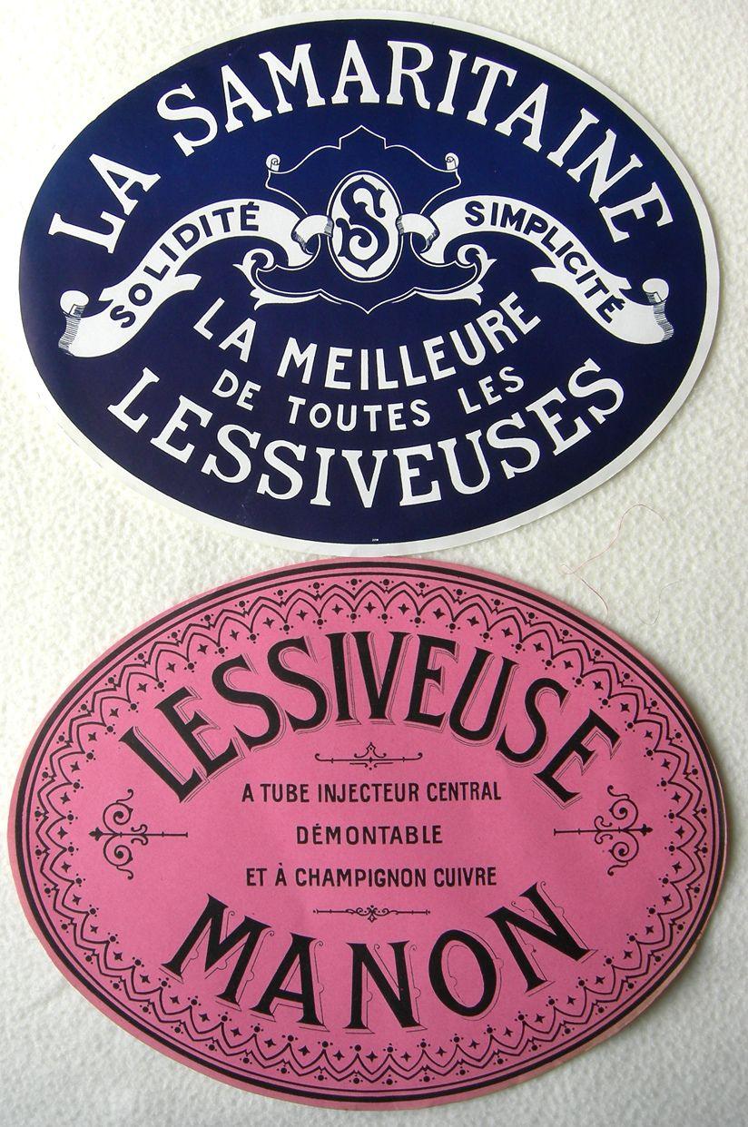 Vintage French Laundry Labels Etiqueta Hotel Ovalado Ovalo Ros Azu Lessiveuse Manon Samaritain
