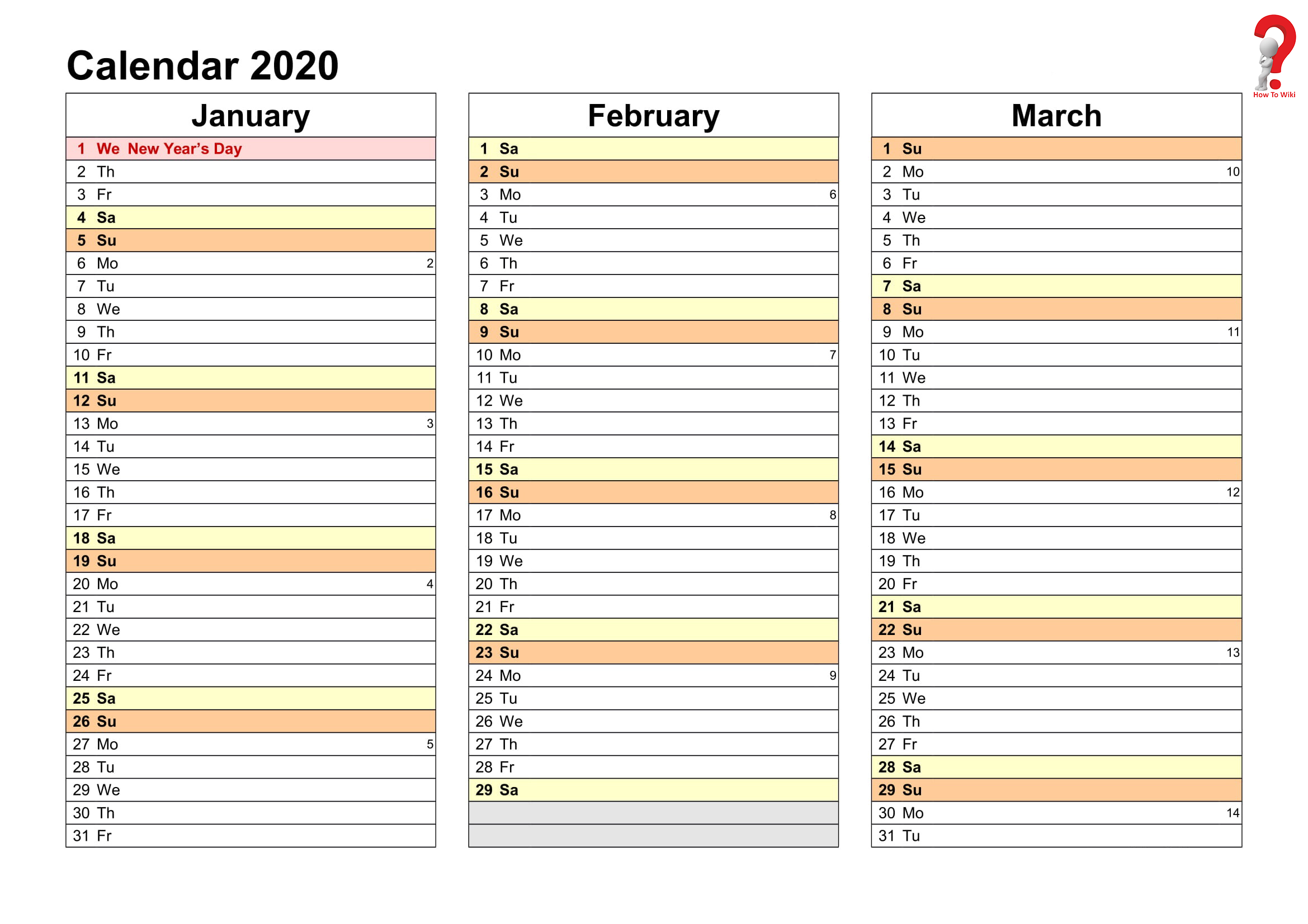 2019 and 2020 yearly planner in excel