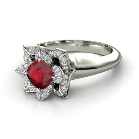 Cushion-Cut Lotus Ring - Engagement