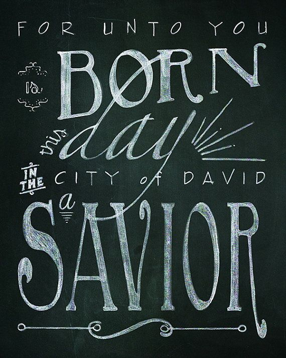 Good Christmas Bible Verse Printable Chalk Art   2 32x40 Typography Designs //  Instant Download