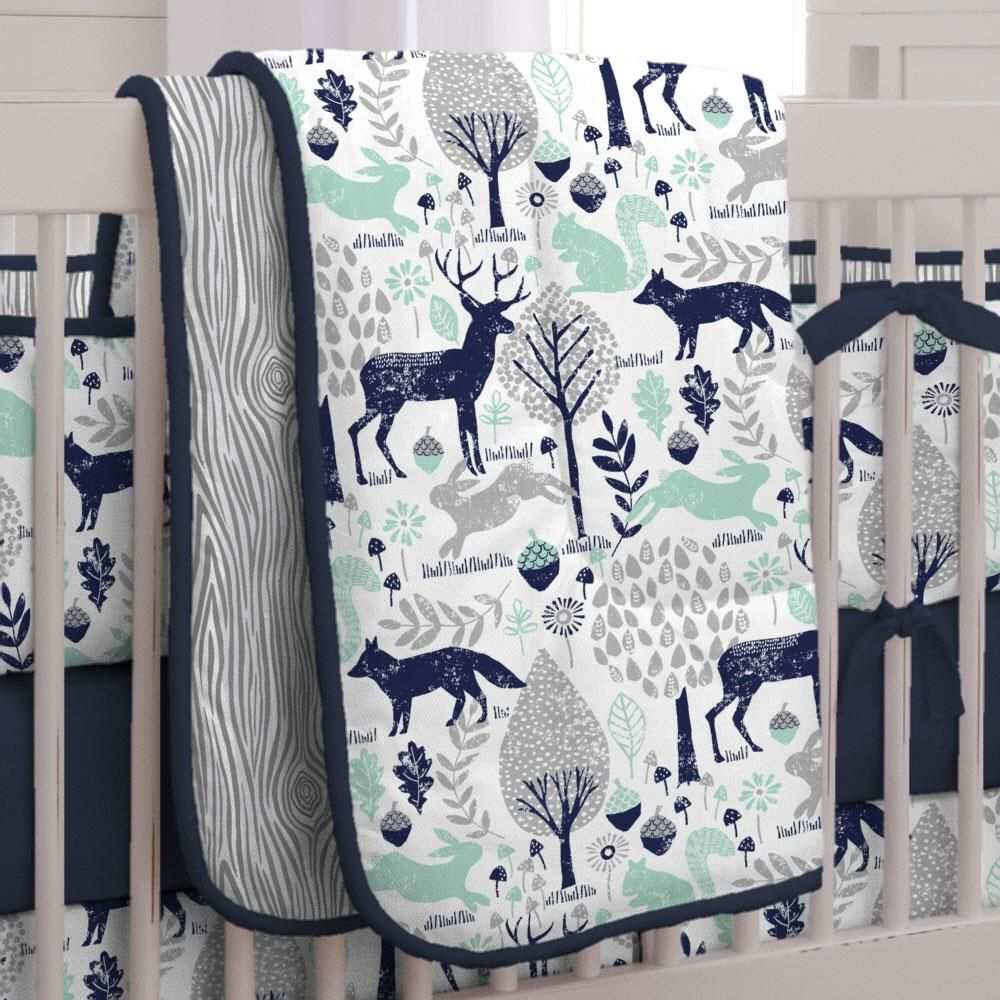 Navy And Mint Woodlands Crib Comforter Woodland Crib Bedding Crib Bedding Boy Boy Nursery Bedding
