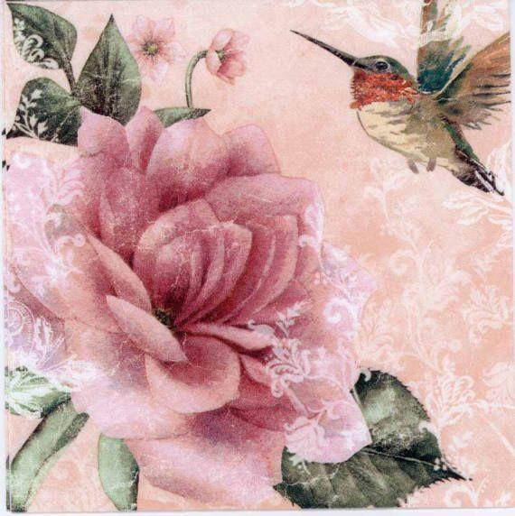 Decoupage Napkins   Rose and Hummingbird on Pink   Bird Napkins   Floral Napkins   Rose Napkins   Garden Napkins Paper Napkins for Decoupage