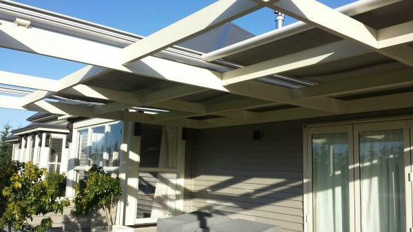 Pergola awnings are motorised and operate on a side track ...