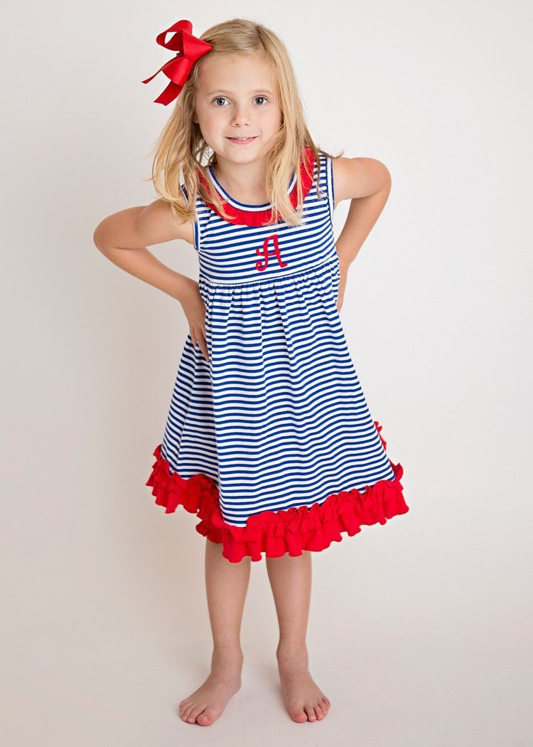 Girls blue stripe u red ruffle knit dress products pinterest