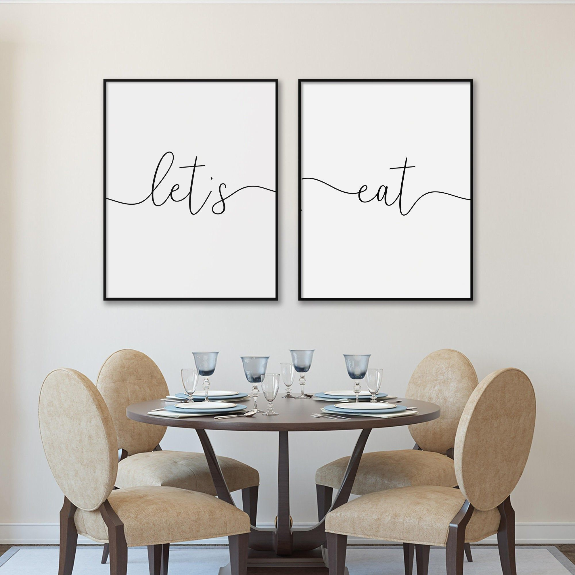 Let's eat Print Diptych, Printable Quote Posters Set of 2 Prints, Dinning Room Wall Art Decor, Kitchen Wall Art, Handwritten Style Lettering