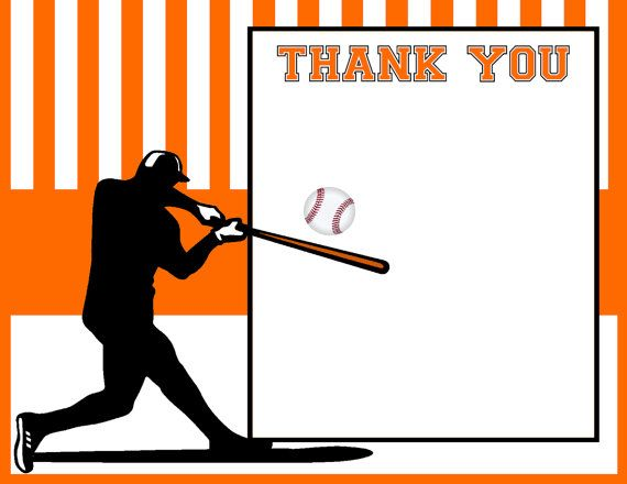 Editable Baseball Thank You Card, Baby Shower Thank You Note ...