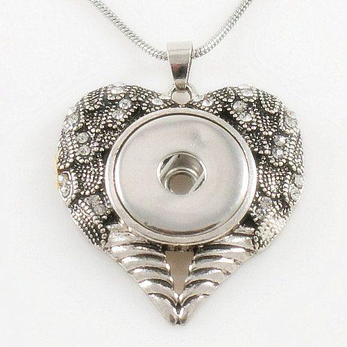 Heart Shape Angel Wings Button Noosa Chunk by YourCharmedStory