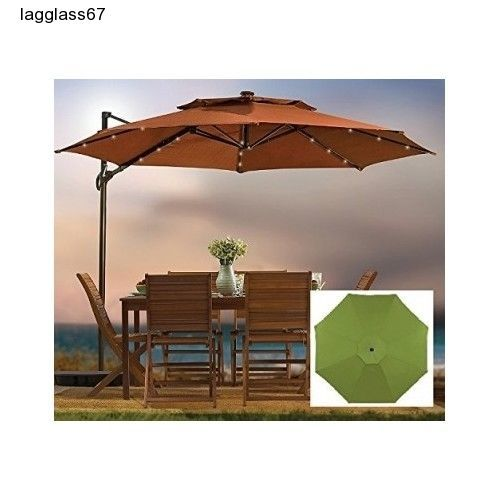 Patio Cantilever Umbrella 11 Ft Round Canopy Outdoor Solar Powered Lights  Base