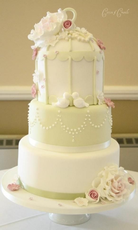 Pretty 3 Tier Birdcage Wedding Cake by Cotton and Crumbs | Wedding ...