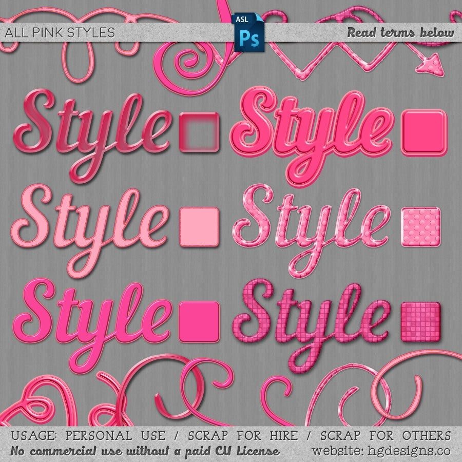 free download pink photoshop layer styles courtesy of hgdesigns