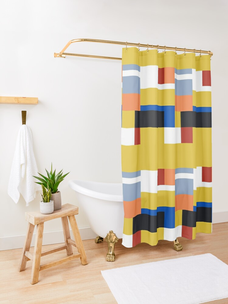 Lego Deco Yellow Shower Curtain By Markvickers41 Redbubble In 2020
