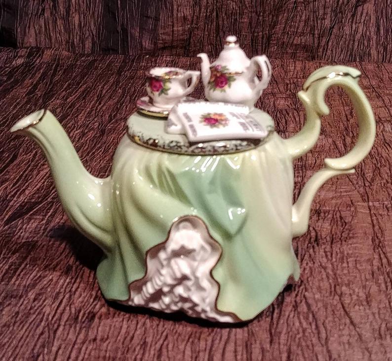 Tea time teapots teacups tea bags Hand painted glass gems party favors