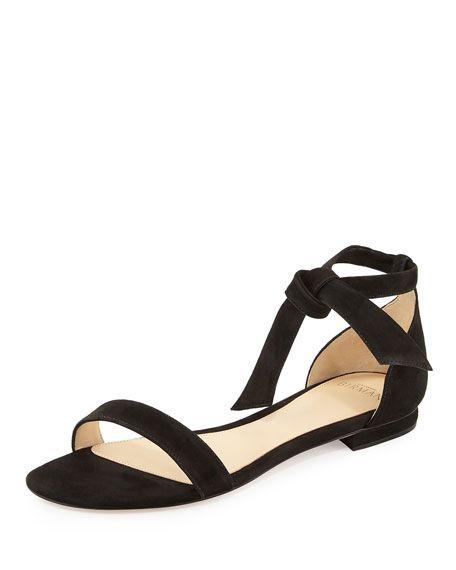 Alexandre Birman Clarita Suede Ankle-Tie Flat Sandal, Black