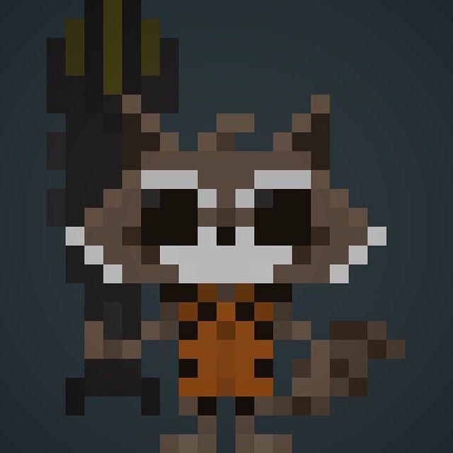 #ShareIG Famous Characters In Pixel Art • Rocket Raccoon