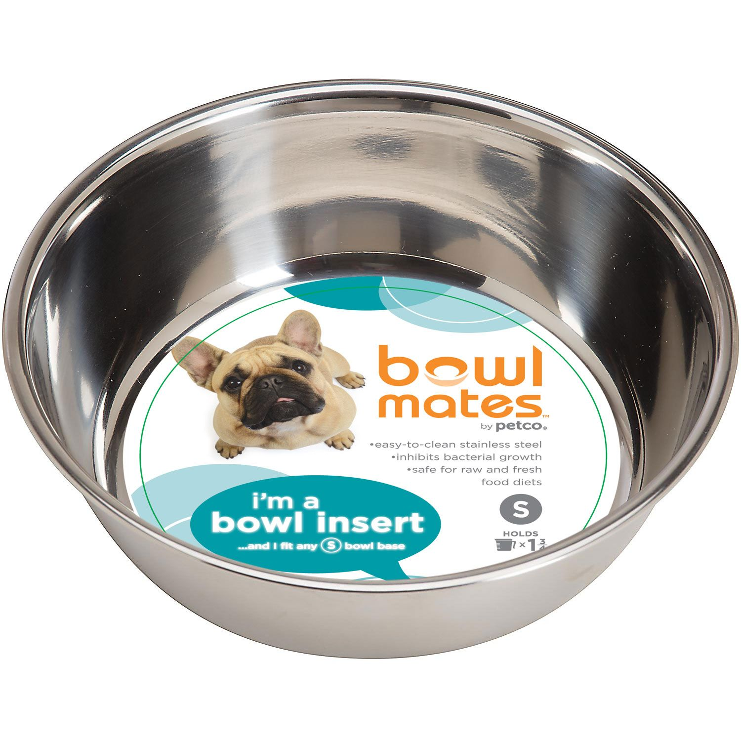 Bowlmates By Petco Small Stainless Steel Bowl Insert X2 Kitty