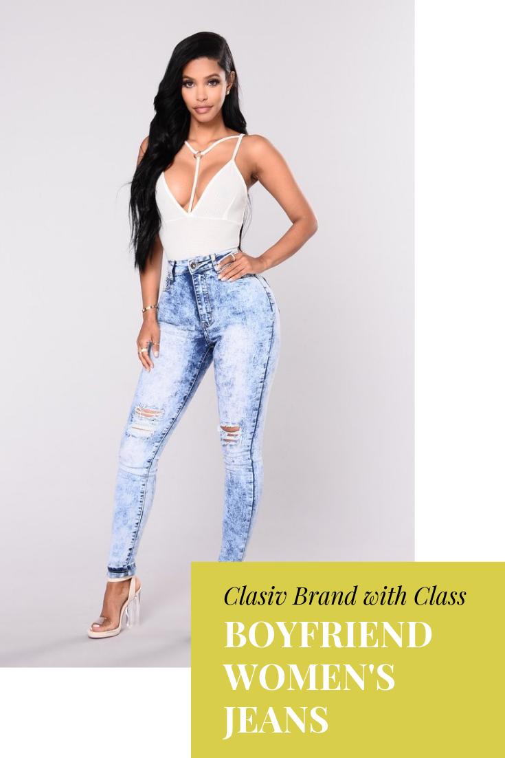 ad9283d602b2 High Waist Boyfriend Women's Jeans -Light Blue Material: Cotton Length:  Full Length Wash