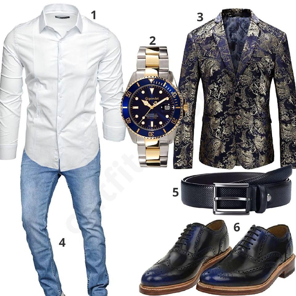 super popular d8de7 f6abe Cooler Look mit blau-goldener Uhr und Sakko   Fashion Man ...