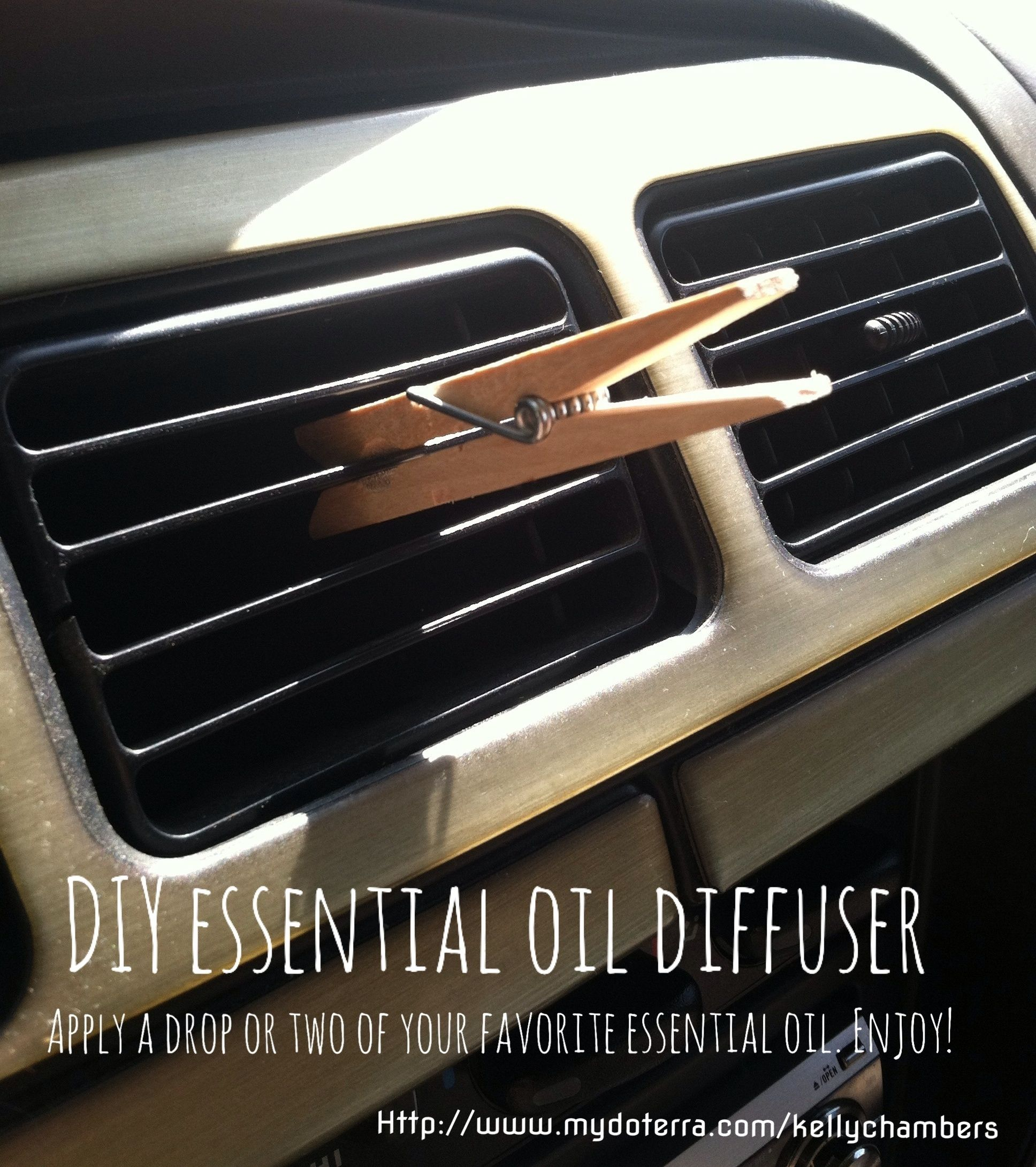 DIY car essential oil diffuser. Simple and easy. Just clip a clothespin to your car's air vent, apply a couple drops of your favorite essential oil to the clothespin, then breathe deeply. Enjoy!