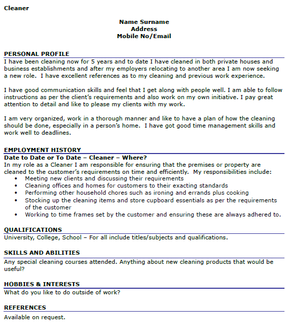 Cleaning Staff Cv Template Aol Image Search Results Job Resume