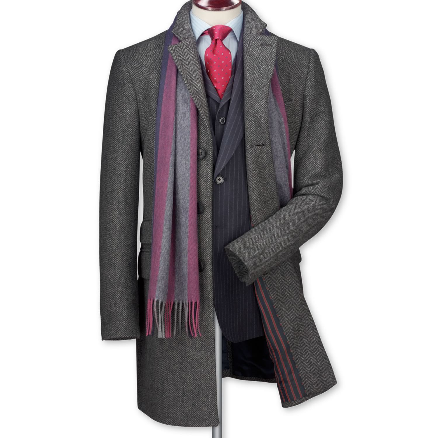 Grey herringbone tweed overcoat | Men's coats from Charles ...