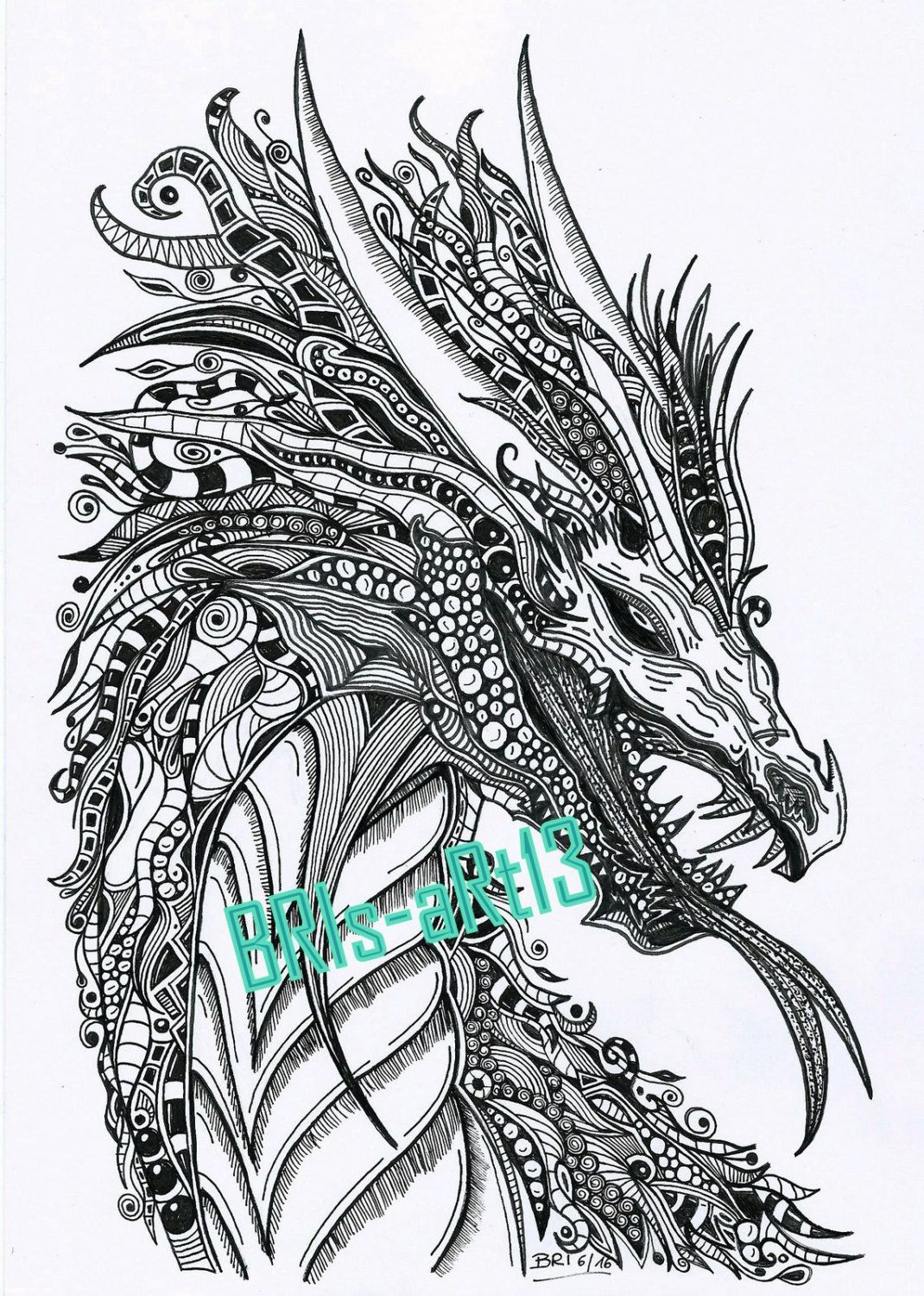 Disney zentangle coloring pages - Coloring Pages Adult Coloring Zenzia Drache Made By Bri Zendoodle Ausmalbilder Vorlage Zentangles Coloring Download Painting