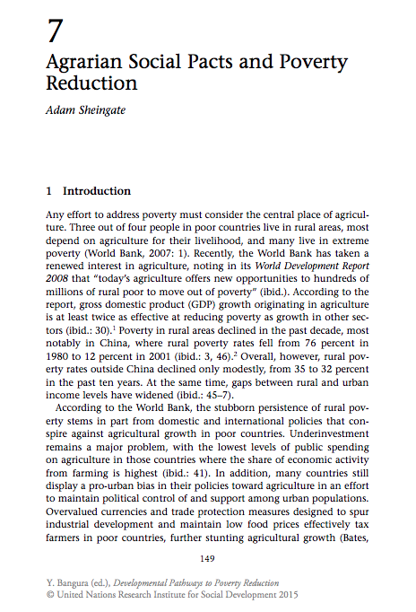 Sheingate Adam 2008 Agrarian Social Pacts And Poverty Reduction Background Paper For Unrisd Report On Combating Poverty And Inequality Lettura