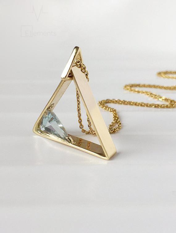 14k 18k Gold Triangle Pendant Nitrogen N Trillion Triangle Aquamarine Pendant Topaz Gold Pendant Tanzanite Pendant Platinum Emerald Pendant Aquamarine Pendant Emerald Pendant Gold Pendant
