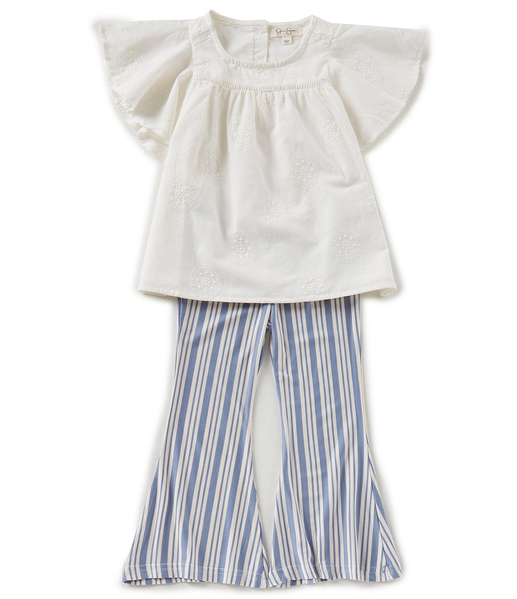 4cdc5c7944d4 Jessica Simpson Little Girls 2T6X Voile FlutterSleeve Top and Striped Bell  Bottom Pants Set  Dillards