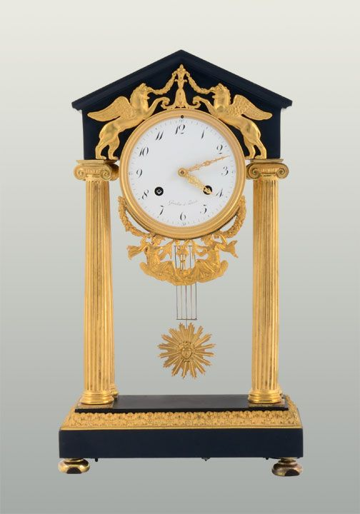 French directoire style empire clock signed Gaulin, A Paris, circa 1825.  This antique