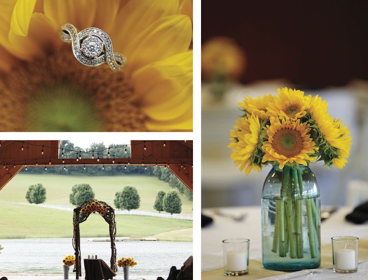 3550f43085e6 Love these summery outdoor wedding details! See more from this sunflower  yellow and gray Tri