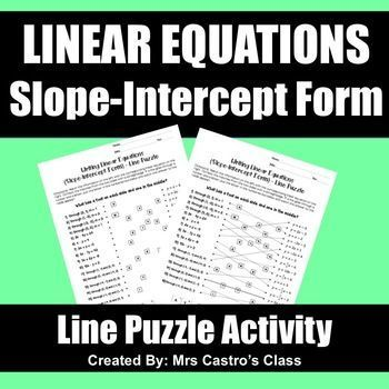 Linear Equations Slope Intercept Form Line Puzzle Activity