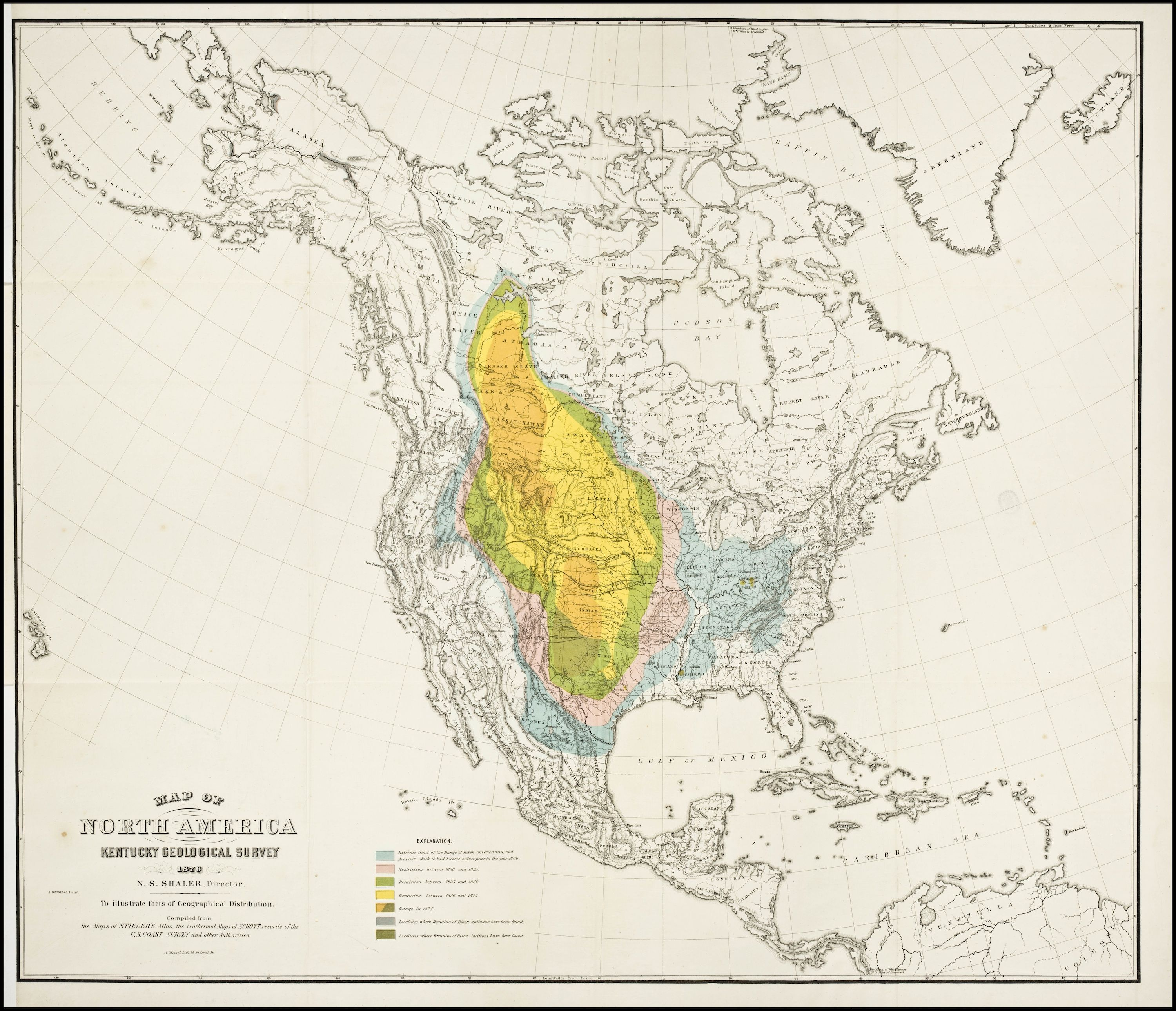 The Disappearance Of Buffalo In North America 1876 Map