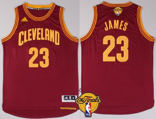 Men's Cleveland Cavaliers #23 LeBron James 2017 The NBA Finals Patch Red  Jersey