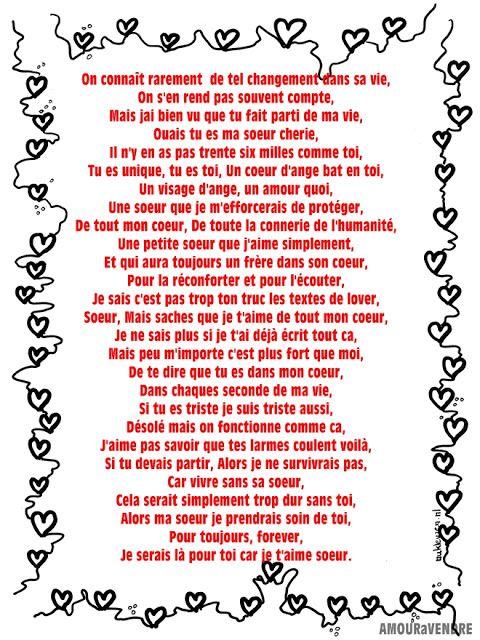 Lettre Damour Pour Ma Soeur Lettre Amour Discours