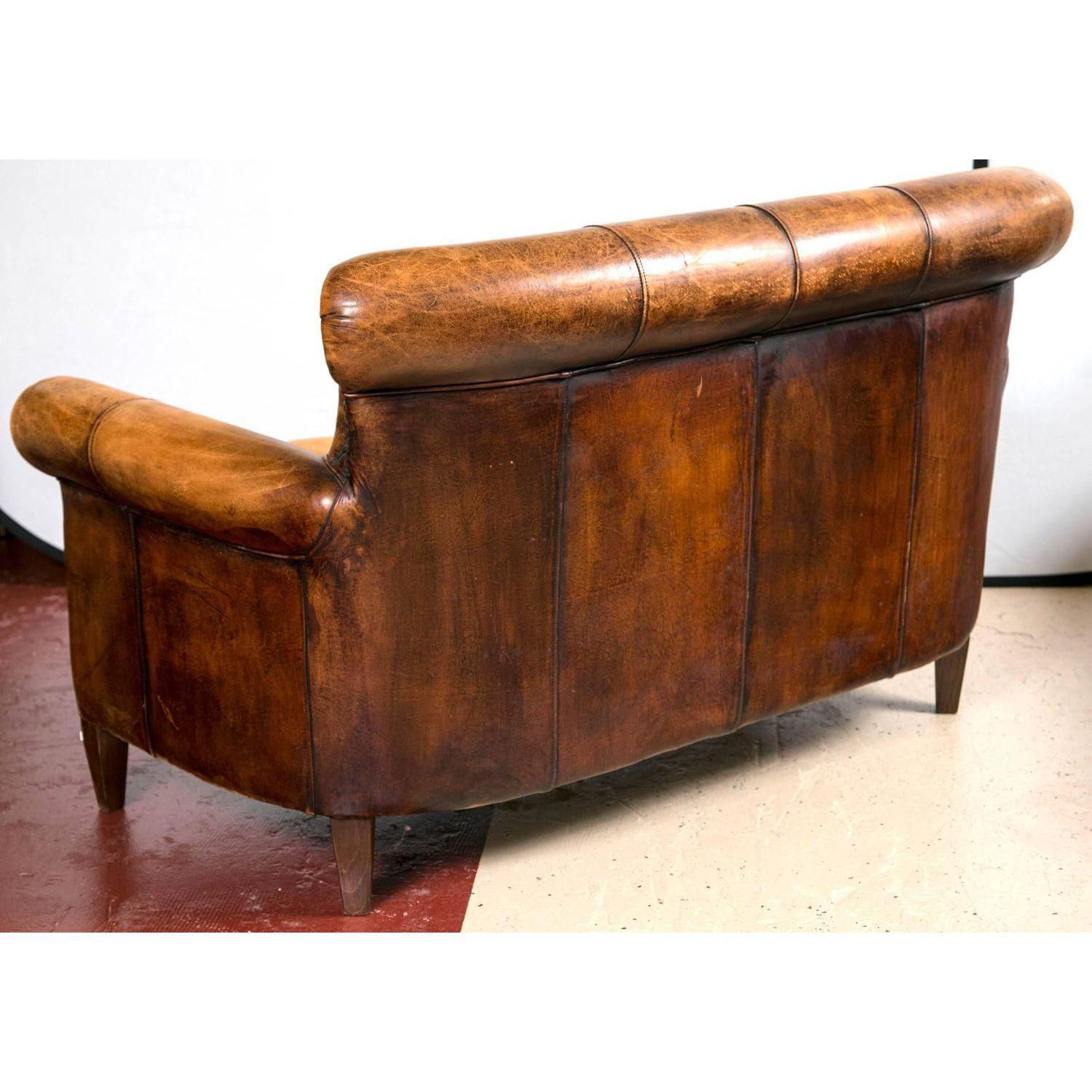 Vintage French Distressed Art Deco Leather Sofa Leather Sofas  ~ Kensington Leather Sofa