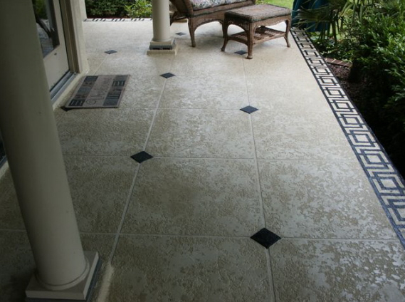 Tile Decorative Inserts Exterior Concrete Patio Floor With 20X 20 Tile Pattern And
